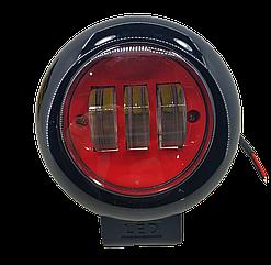 Фара светодиодная LED противотуманная круглая 30W (3 диода) red