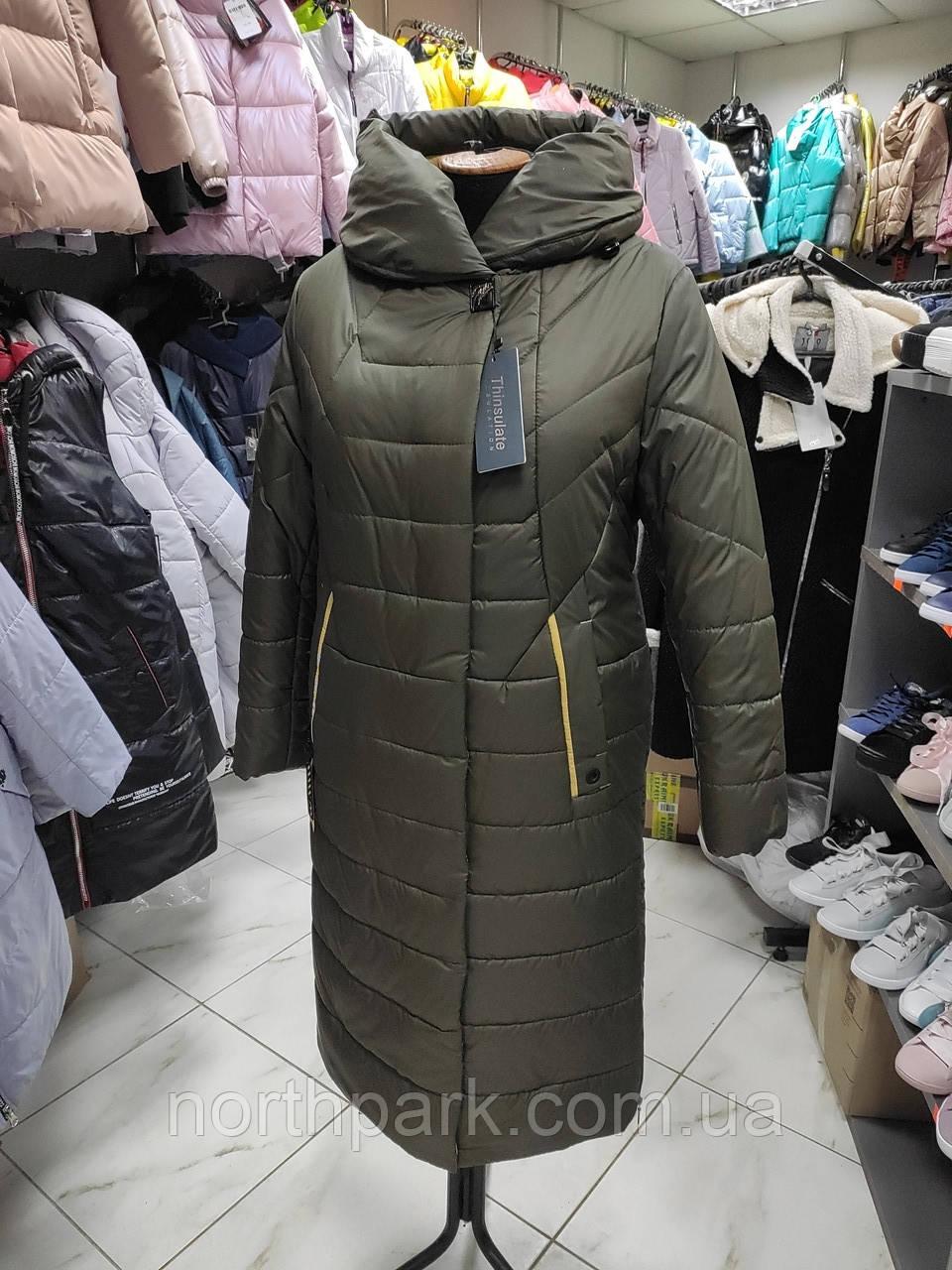 "Зимове довге пальто ""Леді"", хакі"