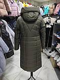 """Зимове довге пальто """"Леді"""", хакі, фото 3"""