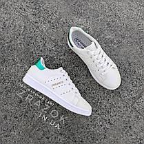 Білі літні кросівки еко шкіра шкіряні в дизайні adidas stan smith жіночі, фото 3