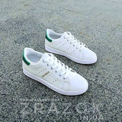 Білі літні кросівки еко шкіра шкіряні в дизайні adidas stan smith жіночі, фото 2