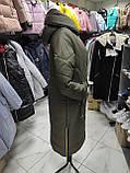 """Зимове довге пальто """"Леді"""", хакі, фото 7"""