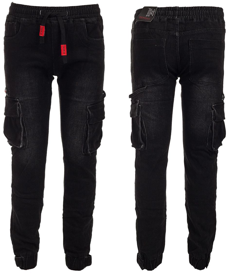 Черные джинсы джогеры для мальчика