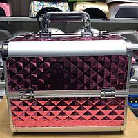 Б'юті алюмінієвий кейс валізу з ключем рожевий куби об'ємні ромби