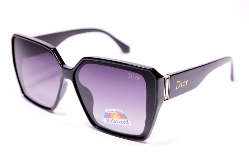 Жіночі сонцезахисні окуляри метелики Діор P2063 C2 репліка Чорні з градієнтом з поляризацією