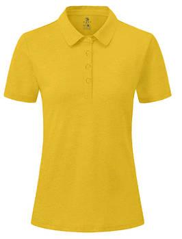 Футболка поло однотонна жіноча, колір жовтий