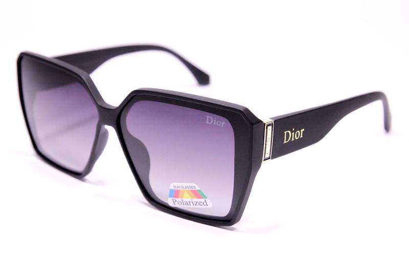Жіночі сонцезахисні окуляри метелики Діор P2063 C3 репліка Чорні з градієнтом з поляризацією
