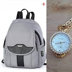 Рюкзак молодежный женский модный с часами серый небольшой 30*24 см Dolly 377