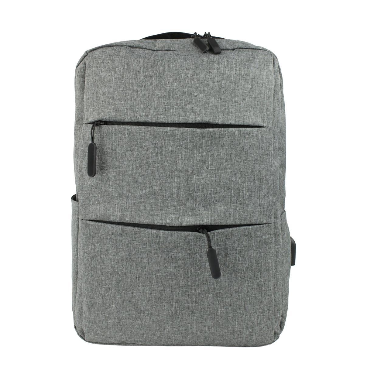 Рюкзак городской c USB выходом и отделением под ноутбук  серый