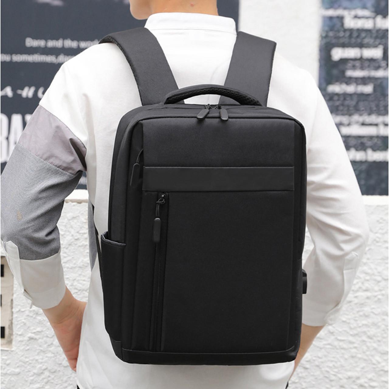 Рюкзак деловой черный 3 отделения с USB