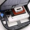 Рюкзак деловой черный 3 отделения с USB, фото 6