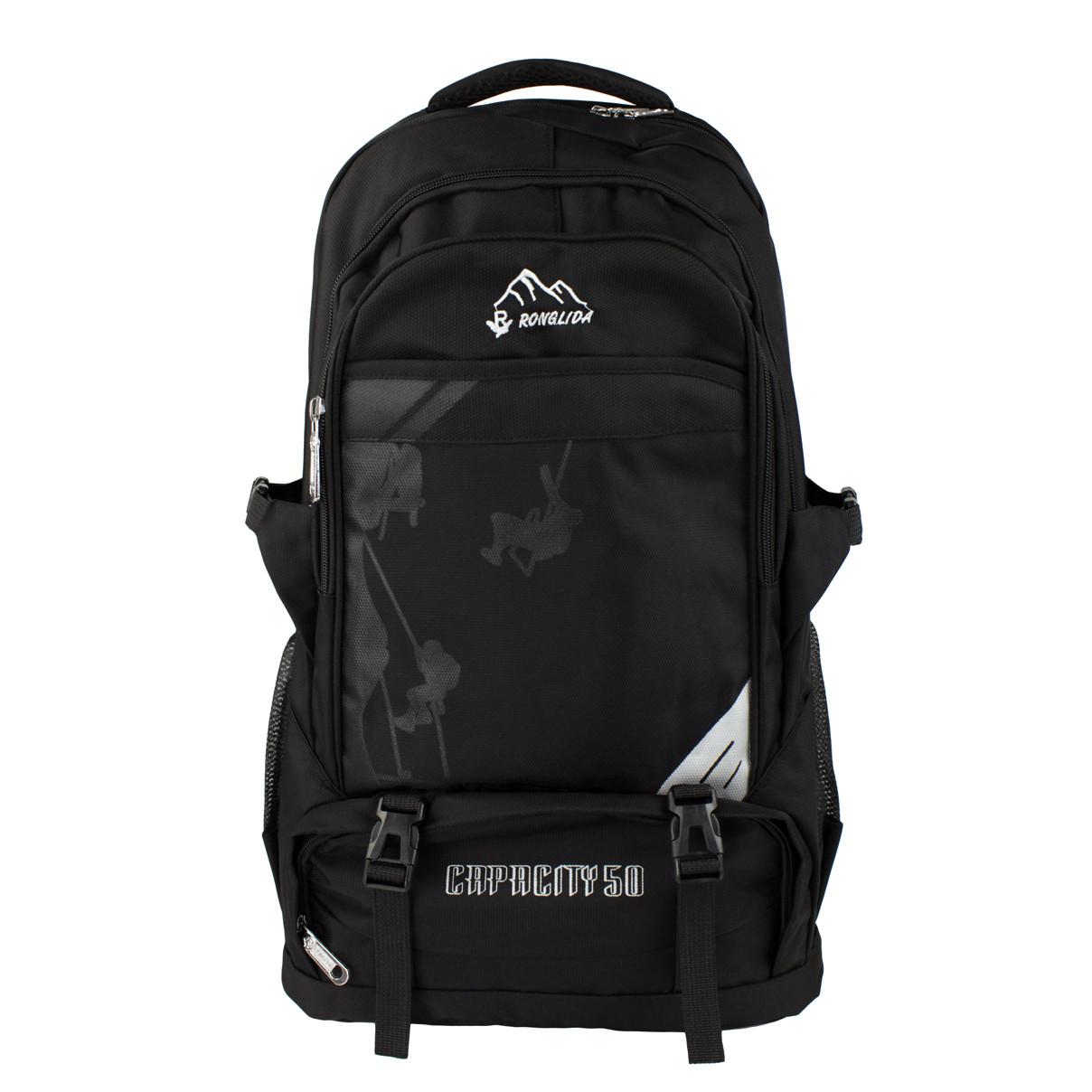 Рюкзак туристичний похідний чорний Ronglida текстиль 50 л