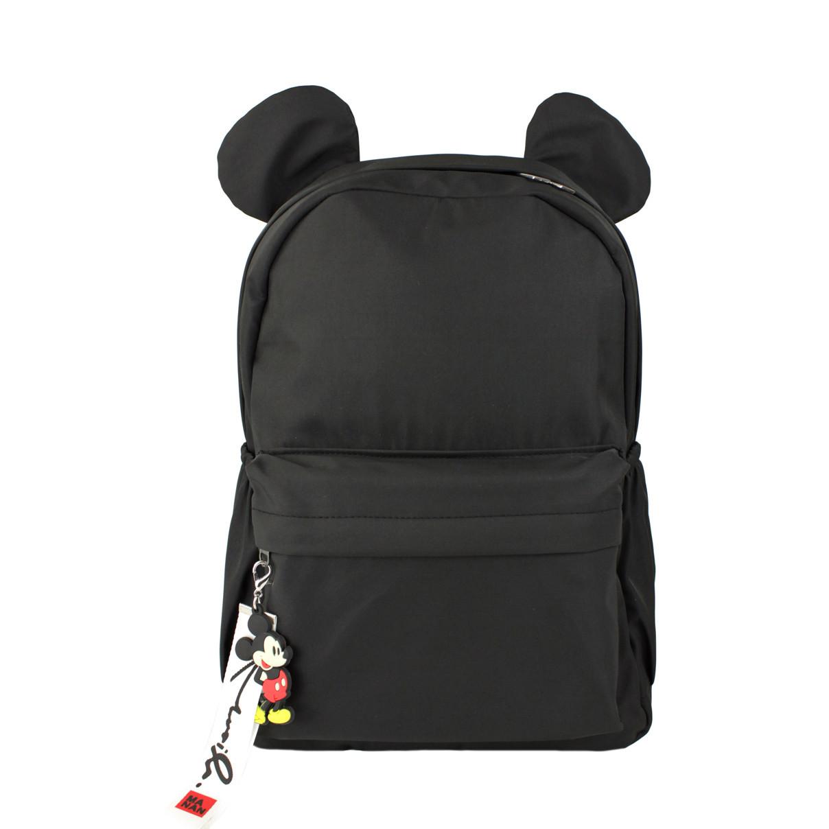 Рюкзак детский для девочек тканевый Ушки черный