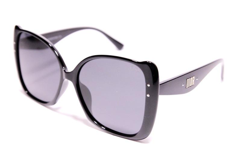 Женские солнцезащитные очки бабочки Диор P470 C1 реплика Черные с поляризацией