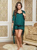 Спальний жіночий шовковий костюм трійка