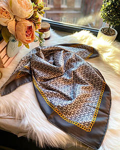 Платок шелковый МК серый с ручной подшивкой