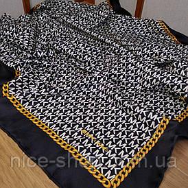 Платок шелковый МК черный с ручной подшивкой