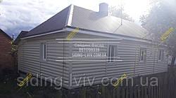 Сайдинг Блок-хаус виниловый пластиковый под бревно бежевый, золотистый, дуб светлый, двух переломный, однопереломный