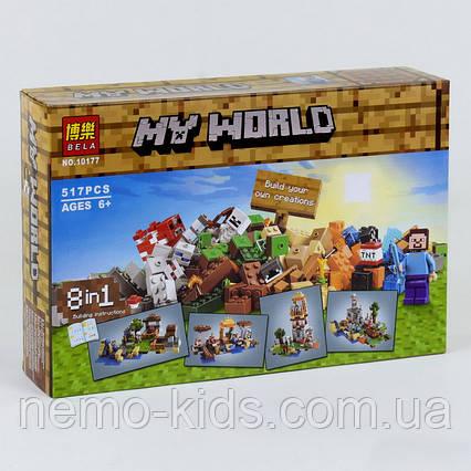 """Конструктор Майнкрафт """"Верстак"""" 8 в 1"""" 517 детали Minecraft"""