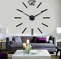 Чорні настінні 3D годинник великі велика стрілка 31 см