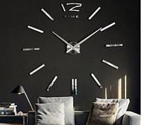 Настінні 3D годинник сріблясті (велика стрілка 18см)
