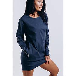 Платье - туника  женское с молниями на рукавах S / M / L Синий