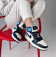 Женские кроссовки Nike Air Jordan 1 Retro Blue Найк Аир Джордан 1 голубые синие высокие