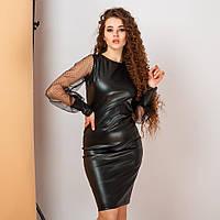 Ультра модное платье из эко кожи батальное