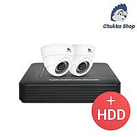 Комплект видеонаблюдения Partizan 2.0MP Набор для помещений AHD-13 2xCAM + 1xDVR + HDD