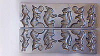 Форма алюминиевая для приготовления леденцов и конфет на палочке зайчик, белочка, лисичка с колобком