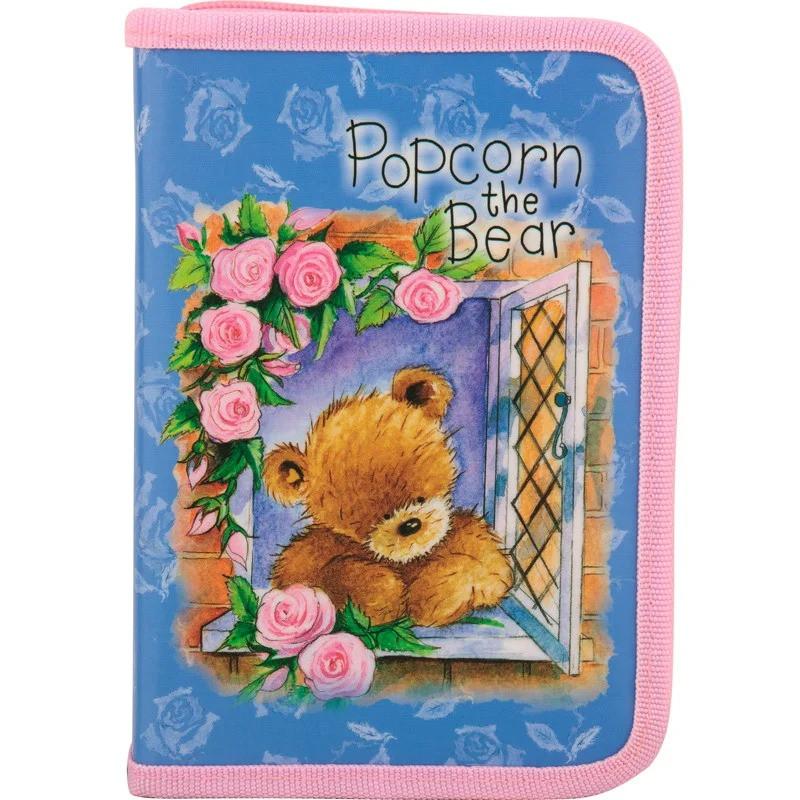 Пенал Kite шкільний на блискавці для дівчинки з 2-ма вилогами Popcorn Bear PO17-622 без наповнення