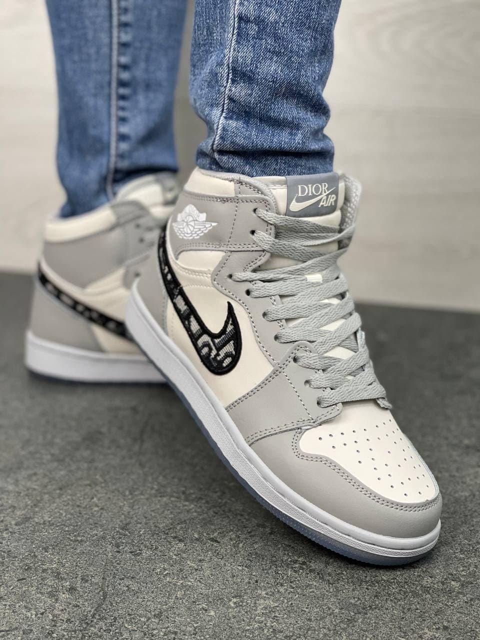 Жіночі кросівки Nk Air Jordan 1 High х Dior Gray