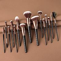 Набор кистей для макияжа (синтетический ворс) черные - 15 шт
