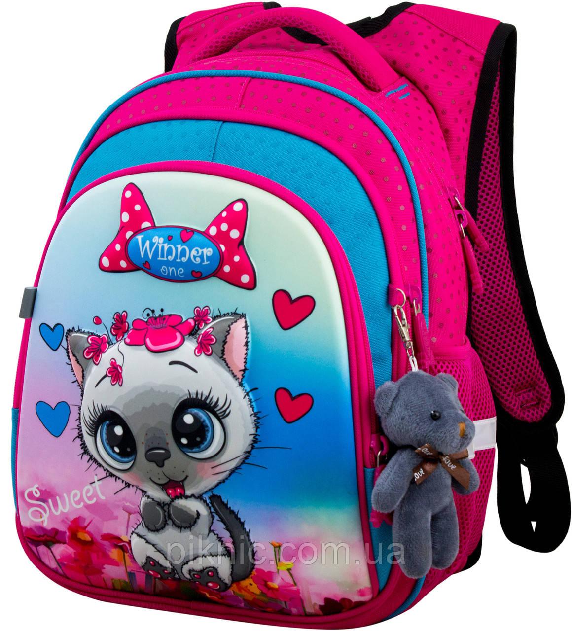 Рюкзак шкільний ортопедичний для дівчаток 1,2 клас Ранець портфель для школи Кицька Winner One R2-164