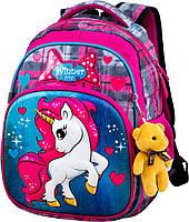 Шкільний ортопедичний рюкзак для дівчаток 1 клас Ранець портфель для школи Мишко Winner 1705