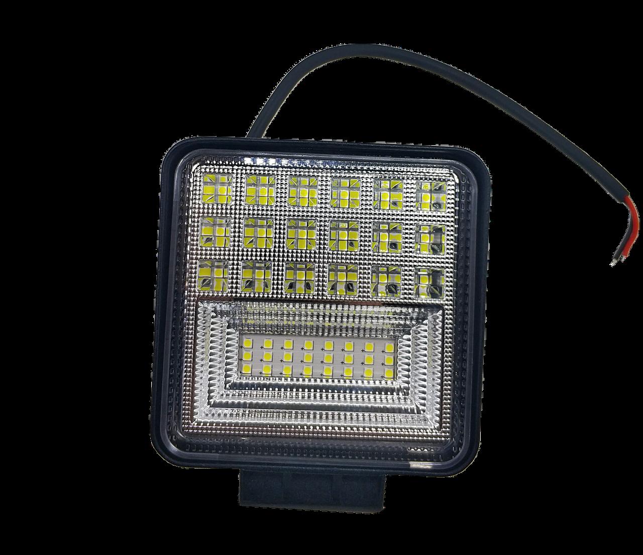 Фара LED квадратна 126 W, 42 лампи, широкий промінь 10/30V 6000K товщина: 40 мм