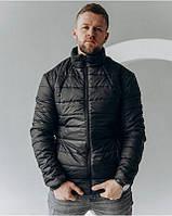 Мужская стеганая весенняя куртка черного цвета
