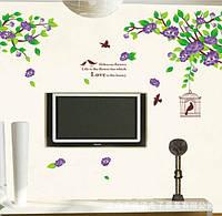 Декоративная виниловая наклейка стикер Птички на ветке (размер170х70 см)