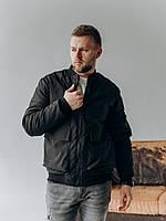 Мужская весенняя куртка-бомбер черного цвета , Весна 2021