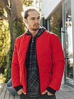 Мужская весенняя куртка-бомбер красного цвета , Весна 2021