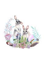 Открытка с пасхальными кроликами