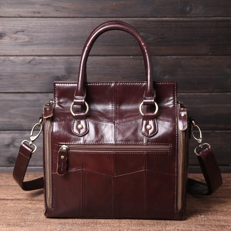 Кожаная женская сумка из натуральной кожи. Сумка женская органайзер кожаная деловая стильная (коричневая) - фото 4