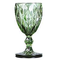 Набор стеклянных бокалов для вина 300 мл цвет- зеленый 6 шт.