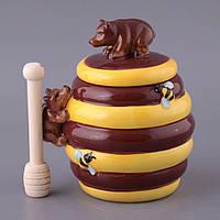 """Банка для меда с деревянной палочкой 450 мл. """"Мишки"""" керамическая, желтая, фото 1"""