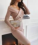 Облегающее платье в рубчик с открытыми плечами длиной ниже колен (р. S-М) 53032100, фото 3