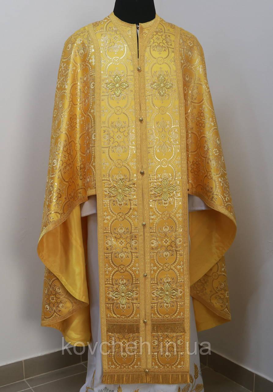 Священичі ризи з вишитою іконою, жовтий