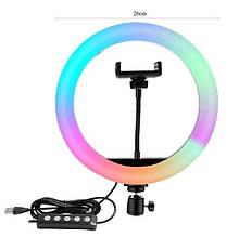 Кольцевая лампа 26 см цветная RGB. Кольцевой свет. LED лампа. Светодиодная лампа