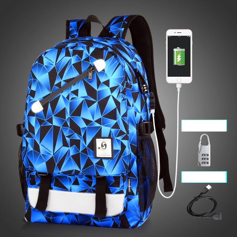 Рюкзак Senkey&Style с синими треугольниками с кодовым замком и с USB