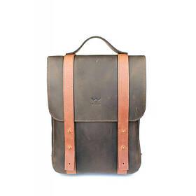 """Кожаный рюкзак 13"""" коричнево-коньячный винтажный"""