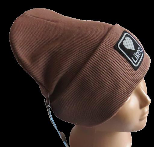 Молодежная весенняя хлопковая шапка Fero со светоотражающим логотипом Likee, коричневая